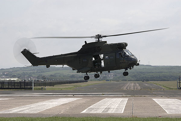 raf puma helicopter in hover