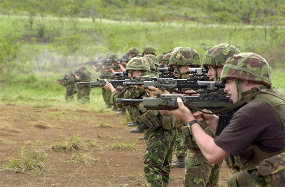 Royal Marines Commandos firing SA80s