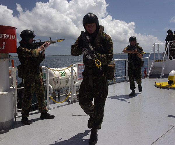 Royal Marines Commandos train in on-ship operations