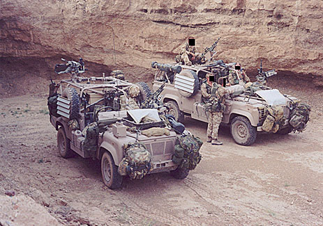 Pathfinder platoon land rovers