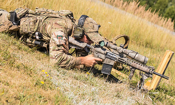 British sniper prone with L129A1 Sharpshooter