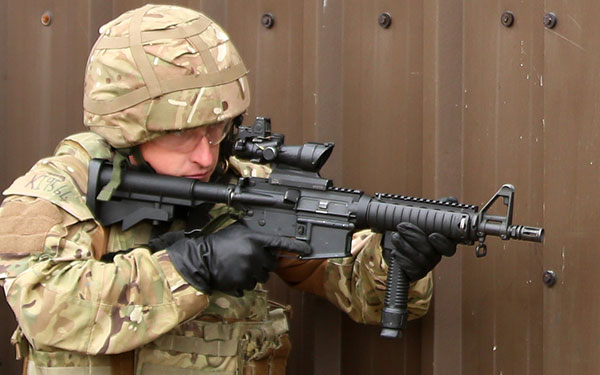 43 Commando Royal Marine armed with L119A1 C8 CQB  carbine