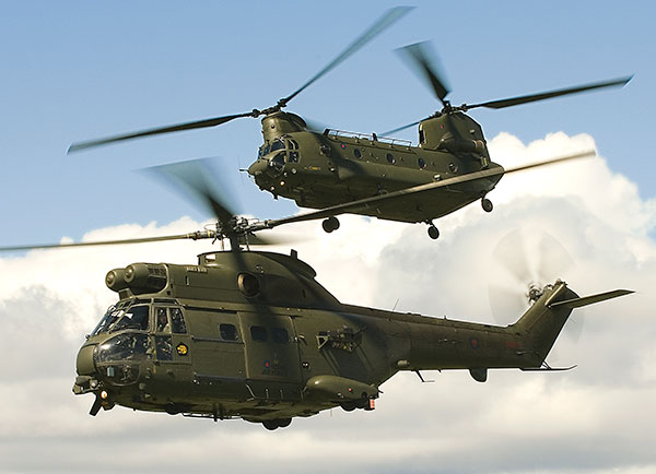 puma and chinook helicopter