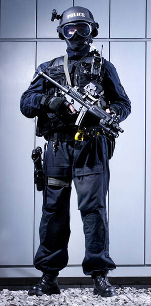 armed police in tactical gear