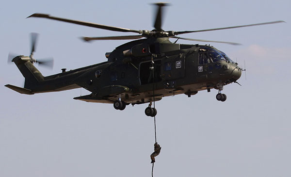 Merlin helicopter with fast-roper