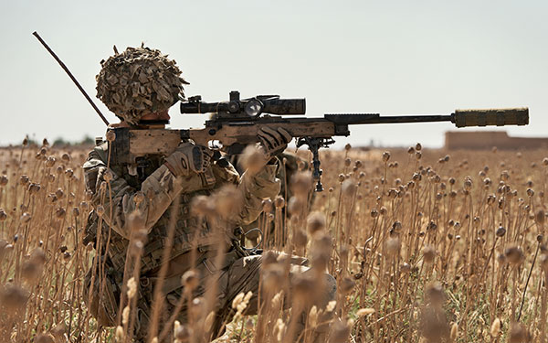 British Military Snipers M110 Sniper Rifle Suppressed